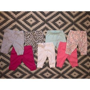 Lot of 7 Carter's size New Born Baby Pants